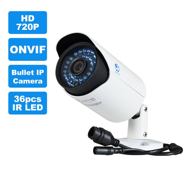 JOOAN 1.0MP ONVIF POE Bala Impermeável Ao Ar Livre Câmera IP P2P, monitoramento remoto do telefone Android IOS HD Lens 36 pcs IR Leds