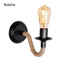 Cuerda de cáñamo lámpara de Pared vintage Industrial Led luces de Pared Retro Wandlamp Vanity Light aplique de Pared lámpara de dormitorio lámpara E27