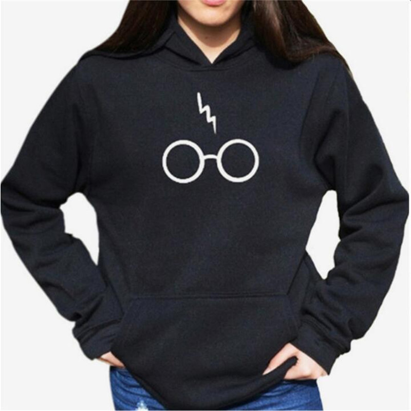 Women Casual Loose Hooded Printed Sweatshirts 2018 Autumn Warm Long Sleeve Hoodies Female Harry Potter 's Glasses Pullover(China)