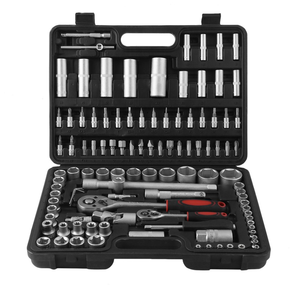 108PCS Professional 1/4 Inch 1/2 Inch Socket Set Ratchet Wrench Spanner Torx Nuts Torque Car Auto Repair Hand Tools good quality 18pcs tamper proof torx star bits socket nuts set high quality 1 4 1 2 drive t8 t60 for auto car repair home use hand tool set