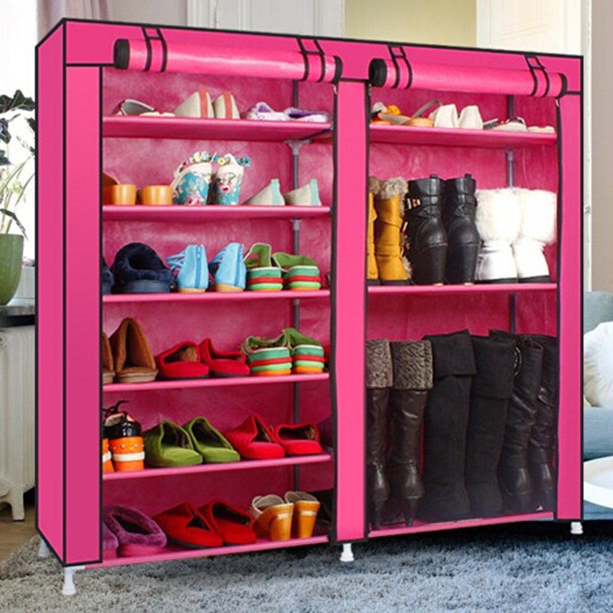 Covered Shoes Rack Home Shoe Storage Fabric Shelf DIY Sundries Organizer  Cabinet Closet Multifunction 6 Tier In Shoe Cabinets From Furniture On ...