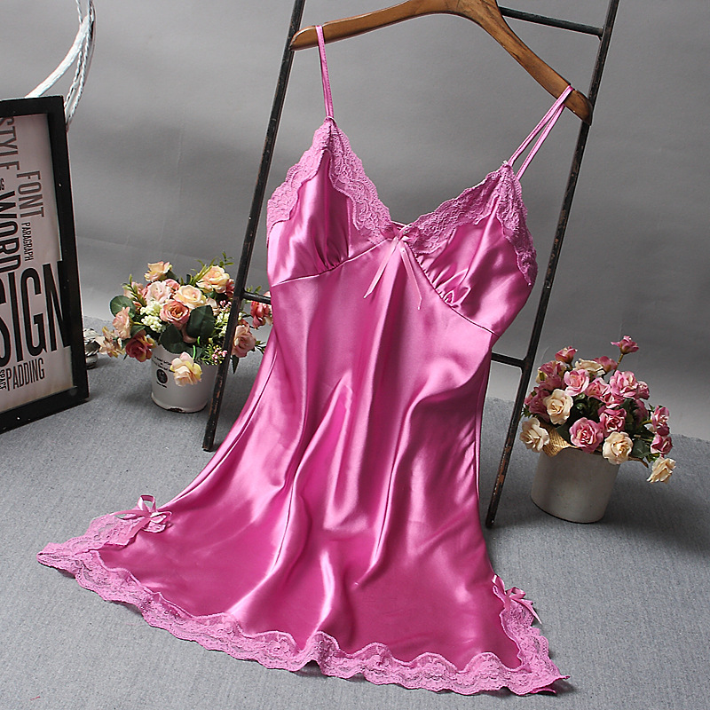 Brand New Chinese Women Robe Satin Nightgown Sexy Nightshirt Sleepwear Lace Bath Gown Summer Casual Home Night Dress Nighty