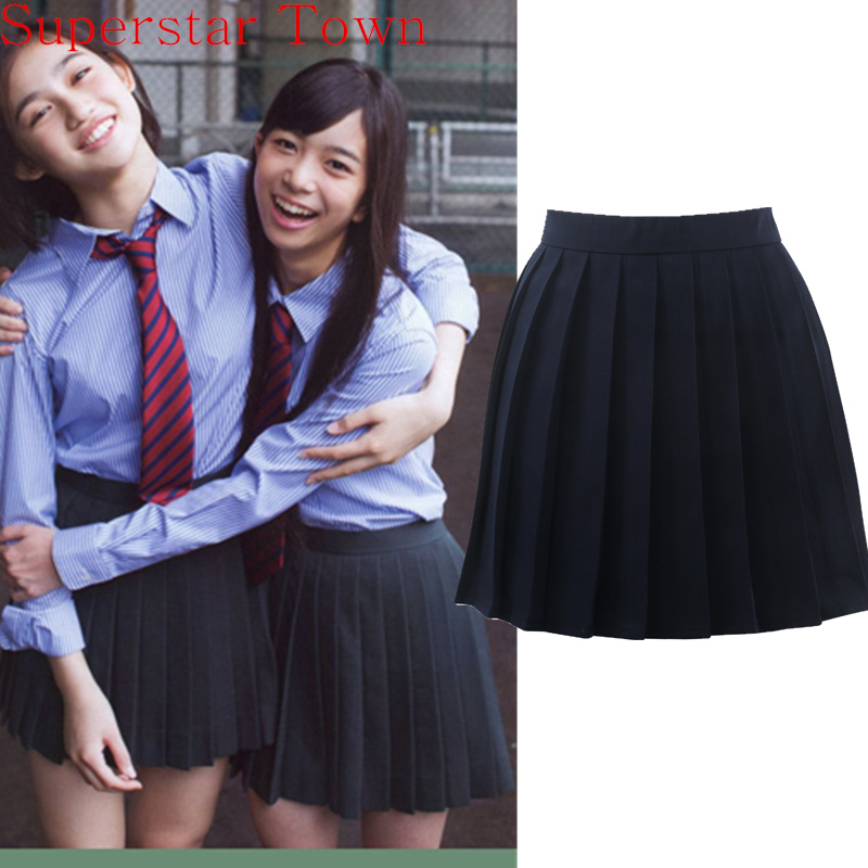 Japan School Girls Uniform Solid Plisseret Mini Skirt Cheerleader Sejlere Cos Lolita Nederdel Kvinder Saias Vestidos