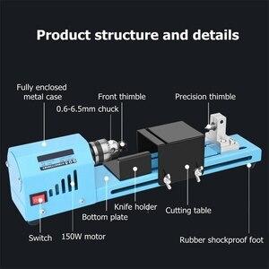 Image 4 - Mini bricolage 150W tour à bois perle Machine de découpe perceuse polissage travail du bois fraisage outil