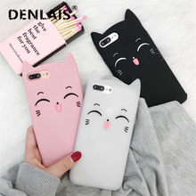 For iPhone X Case Cute 3D Smile Black White Beard Cat Cartoon Capa Soft Silicon Phone Cases For iPhone 5 5S 6 6S 6Plus 8 7 Plus(China)