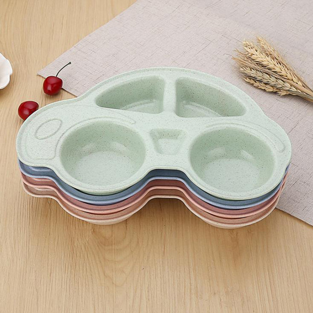 Children's Car Shaped Bamboo Fiber Plate