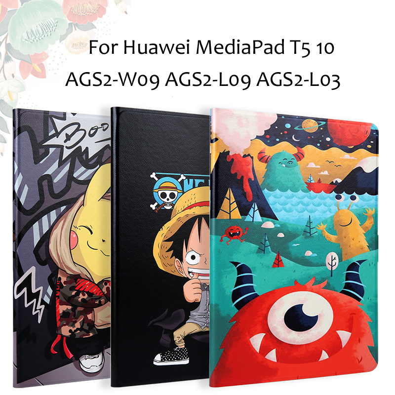 Fashion Painted Pu Leather Stand Holder Cover Case For Huawei Mediapad T5 10 AGS2-W09 AGS2-L09 AGS2-L03 10.1'' Tablet + Gift