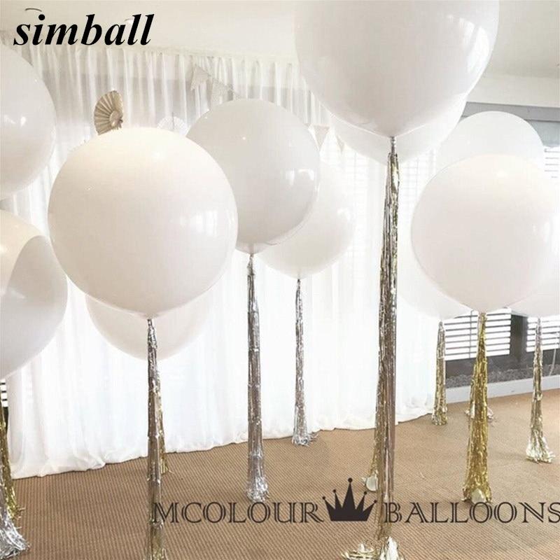10 шт. 36 дюймов 90 см большой белый шар латексные шарики для свадебного украшения надувные гелиевый воздух Шарики С Днем Рождения вечерние воз...