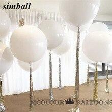 10 stücke 36 Inch 90cm Großen Weißen Ballon Latex Ballons Hochzeit Dekoration Aufblasbare Helium Luft Bälle Glücklich Geburtstag Party luftballons