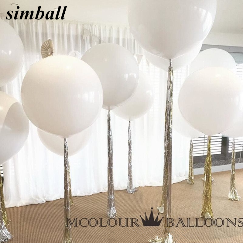 10pcs 36 Inch 90cm <font><b>Big</b></font> White <font><b>Balloon</b></font> <font><b>Latex</b></font> <font><b>Balloons</b></font> Wedding Decoration Inflatable Helium Air Balls Happy Birthday Party <font><b>Balloons</b></font> image