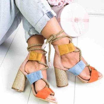 2020 New Women Sandals Shoes Celebrity Wearing Mixed Colors Style Clear Colorful Strappy Sandals High Heels Shoes Mid Heel Shoes 4