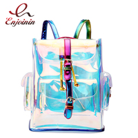 New Design Pvc Laser Transparent Gradient Color Fashion Women's Shoulder Bag Unique Backpack Backpack Girl School Backpack B