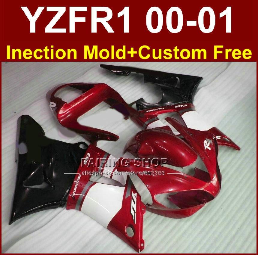 Мотоцикл Обтекатели для Yamaha exup Обтекатели YZFR1 2000 2001 YZF 1000 YZF R1 00 01 ABS пластик красный черный кузовов + 7 подарки