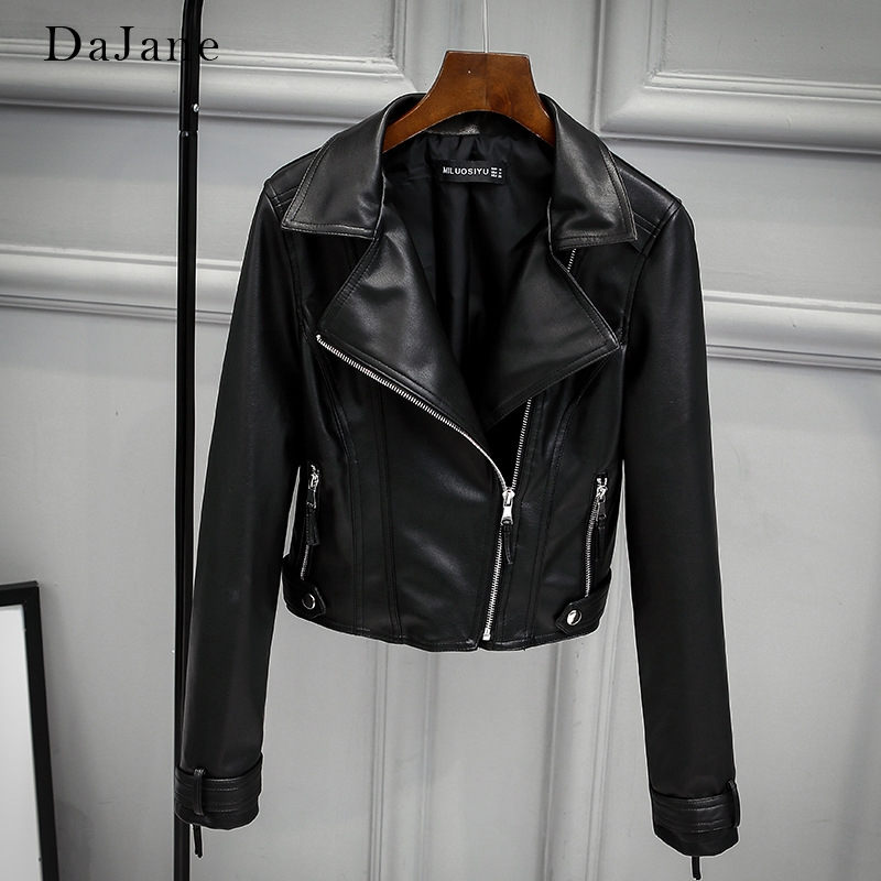 DaJane New Europeanleather Jacket women's High Waist Slim   Leather   Short Motorcycle Clothing Jacket Lapel Jacket