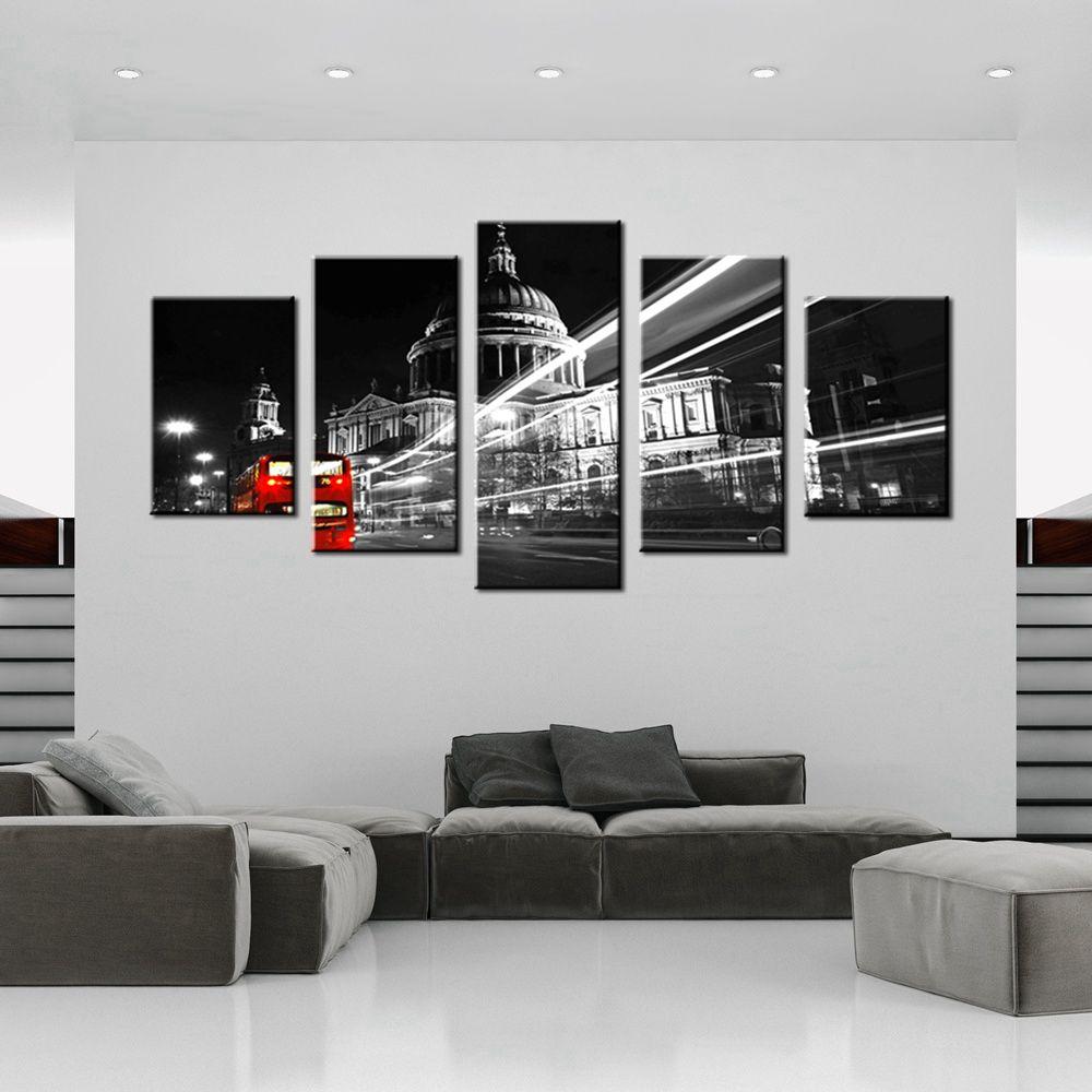 popular black white red wall art decor bus-buy cheap black white