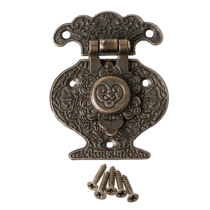 Humble Antique Bronze Hasp Latch Jewelry Wooden Box Mini Cabinet Buckle Lock Decorative Hasps & Locks Hardware