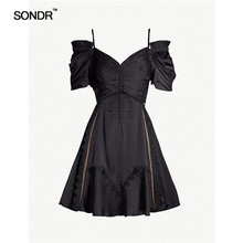 SONDR  Lace Patchwork Sexy Dress Women Puff Sleeve Strap Tunic Ruched Mini Dresses Female Summer Fashion 2019 New