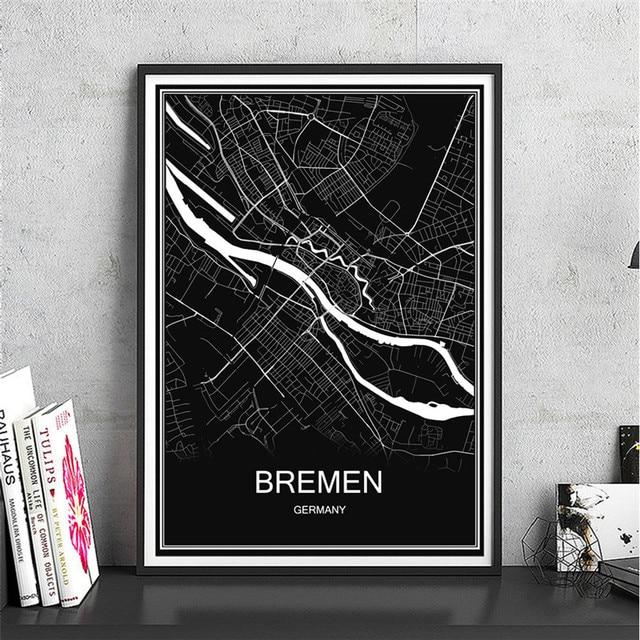 Bremen weltkarte stadt poster olgemalde abstrakte moderne for Wohnzimmer cafe dortmund