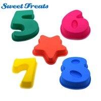 Сладкие угощения 100% пищевой большие силиконовые номер торта Пан противень на день рождения Юбилей номер 5-8 и звезды торта