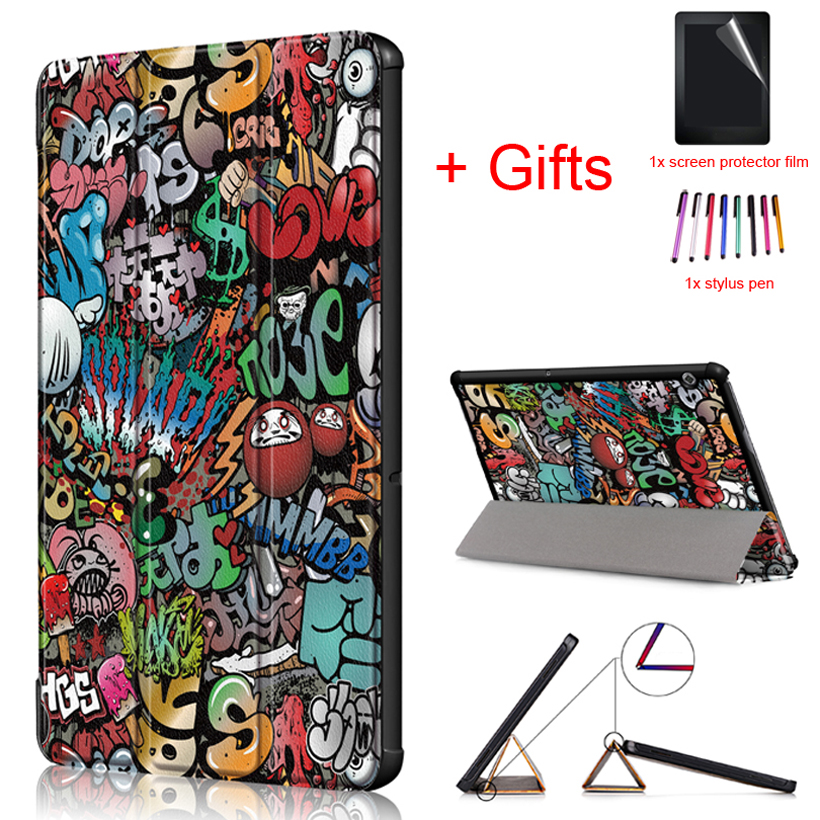 Slim Protective Case for Huawei MediaPad T5 10 AGS2-W09 AGS2-L09 AGS2-L03 AGS2-W19 10.1 Tablet Magnetic Stand Cover+Film+Stylus new 9h glass tempered for huawei mediapad t5 10 tempered glass screen film for huawei mediapad t5 10 inch tablet screen film