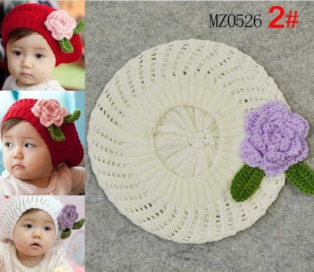 Lindos hechos a mano de ganchillo del bebé del sombrero boinas con ...