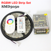 1Set/Lot 5m RGB RGBW RGBWW Led Strip 5050 12V Ribbon Diode Tape Neon Rope + Remote Controller + 12V 5A 60W Power Supply Adapter