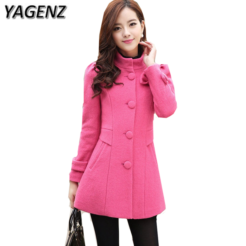 YAGENZ 2020 women autumn/winter woolen jacket Korean slim single-breasted lady coat solid long-sleeved warm winter female jacket
