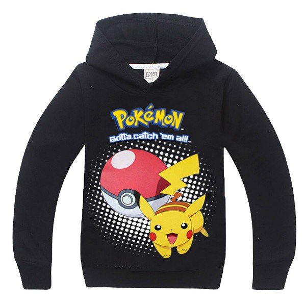 pokemon costume Hoodie toddler boys girls hooded pullover full sleeve tops children clothes pink black Size for 4 5 6 7 8 years (12)