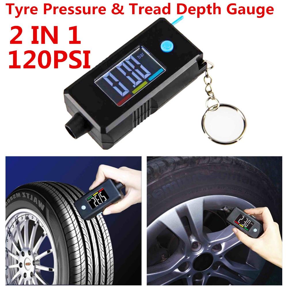 Details About Car Tyre Pressure Gauge Tread Depth Gauge 2in1 Digital Tire Gauge With Key Chain
