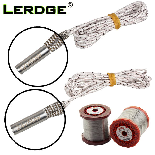 LERDGE Mendel Heating Tube Reprap 12V 24V 50W Ceramic Cartridge Heater for HotEnd J-Head 6*20mm 3D Printer parts 1M 2M for 1PCS