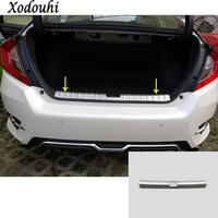 Car Styling Inner Rear Bumper Trim Stainless Steel Scuff Sill Trunk Plate Pedal 1pcs For Honda