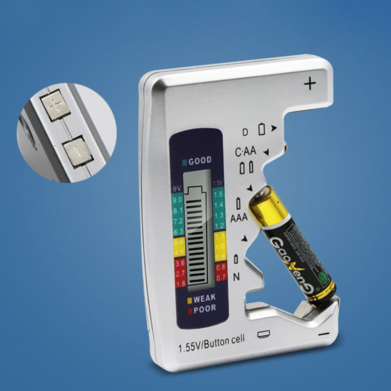 Battery Capacity Detector For C//D//N//AA//AAA//9V 6F22 Batteries //1.55V button cell