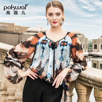 POKWAI 2019 новая весенняя шифоновая кружевная рубашка с абстрактным принтом и рукавами фонариками шелковая Свободная рубашка для женщин