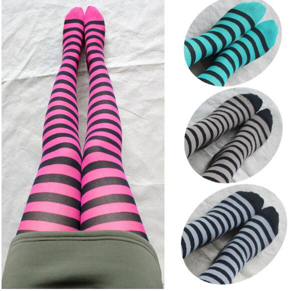 Fashion Girls Colorful Stripes Pantyhose Zebra Tights Nylon And Polyester Classic Stripes Legwear For Women