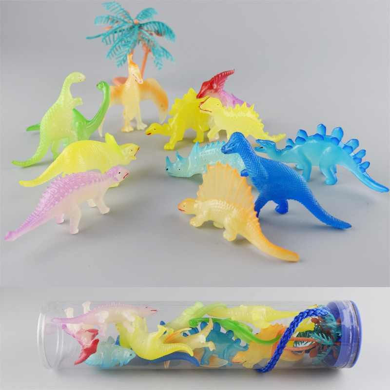 12 Pcs/lot Novelty Luminous Dinosaur Toys Plastic Play Toys Glow Light Animal Model Action Figures Toys For Children Baby