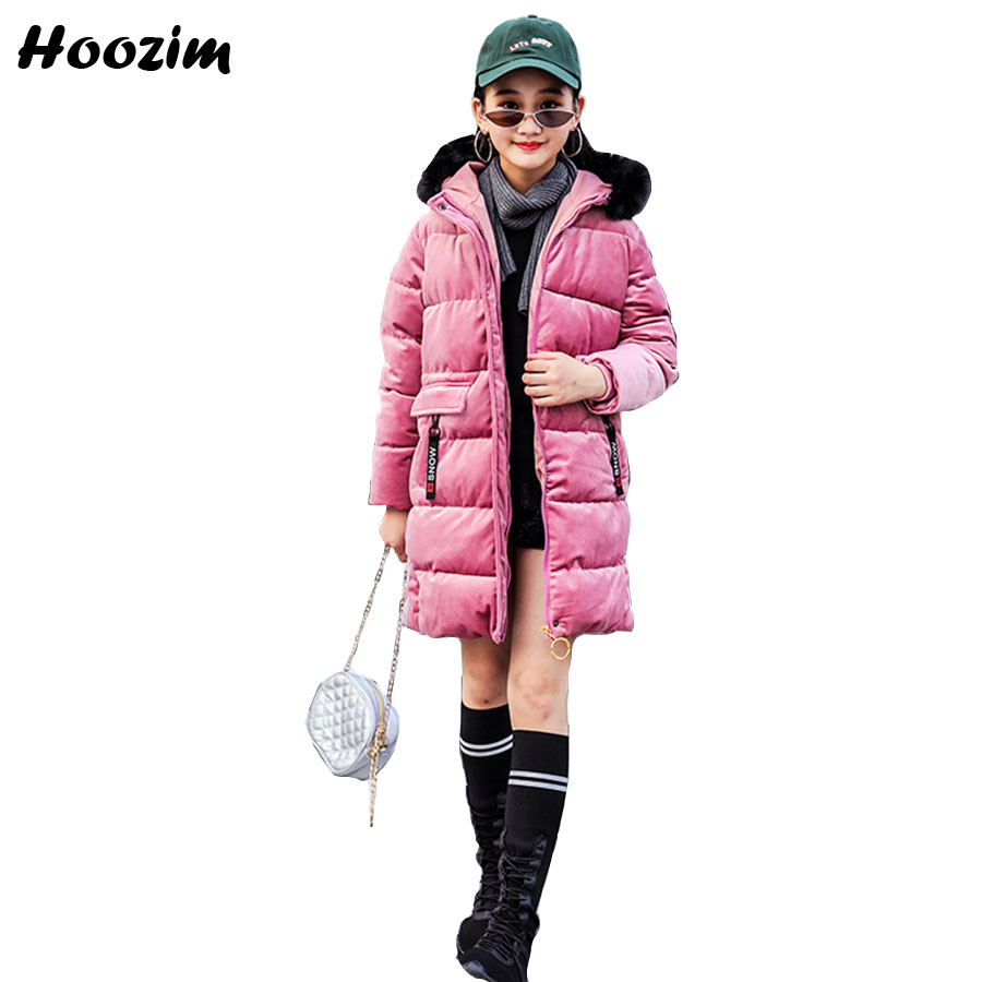 2018 Pink Cotton Parka Kids Fashion Winter Faux Fur Collar Long Jacket For Girls 8 9 10 11 Years Nice Autumn Warm Coat Children 2017 new fashion boys winter jacket cotton coat children parka detachable faux fur hooded collar long style army green red black