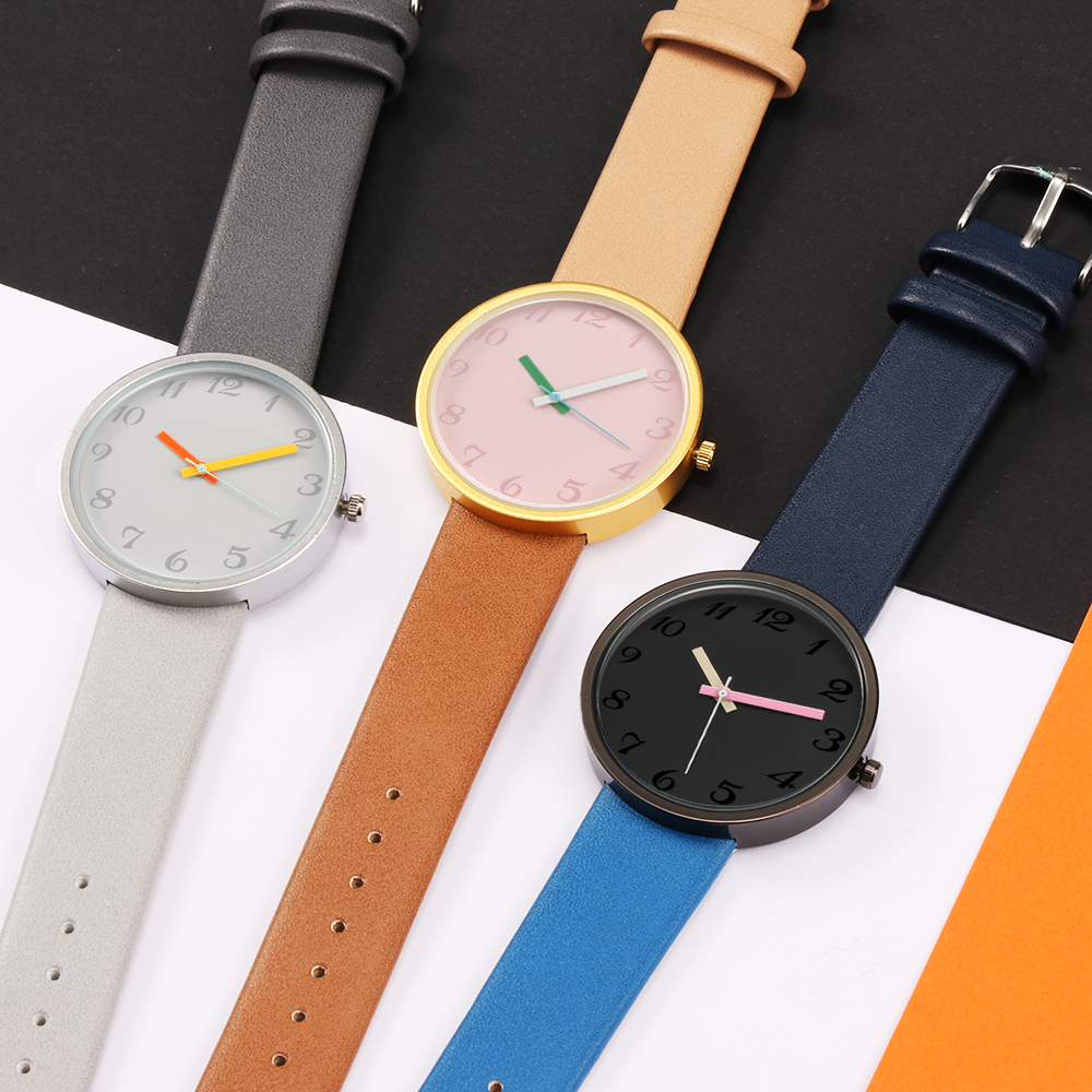 Fashion Casual Men's Watch Quartz Wristwatches Women Watch Gray Contrast Leather Watch Lovers Unisex Clock Pointer Watch Relogio