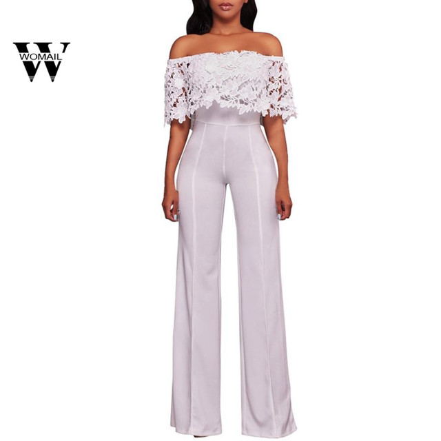 8dee4f9179c 2018 Summer hot sale Women Lace High Waist Off Shoulder Flared Jumpsuits  Rompers Wide Leg Pants Mar 15