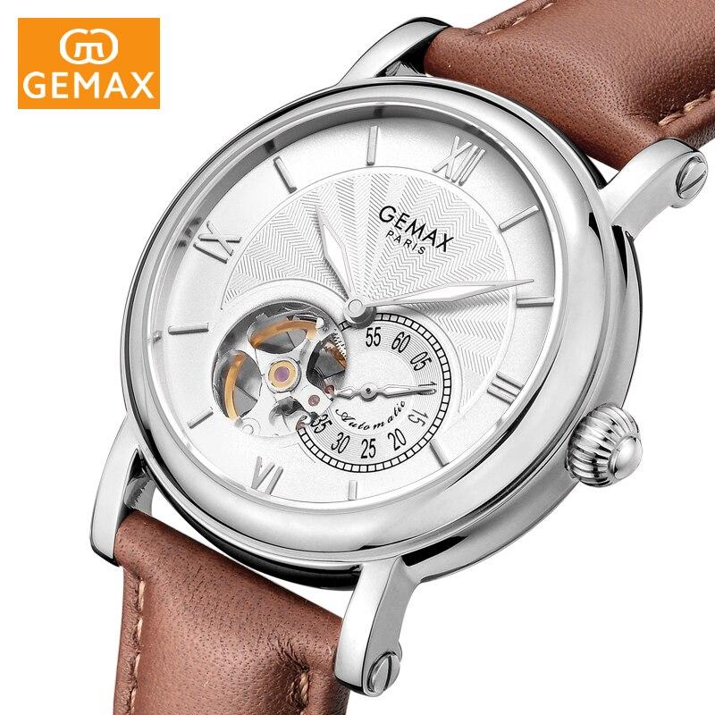 GEMAX hommes montres Top marque de luxe en cuir véritable étanche creux automatique mécanique montre hommes décontracté MX2031