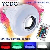 TSLEEN E27 Inteligentny Żarówka RGBW RGB Bezprzewodowy Głośnik Bluetooth Muzyka gry Ściemniania DOPROWADZIŁY Żarówki Lampy z 24 Pilotów kontrola