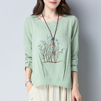 Autumn Elegant Trees Embroidered Blouses Womens Long Sleeves Casual Loose Plus Size Tops Cotton Shirts Femme