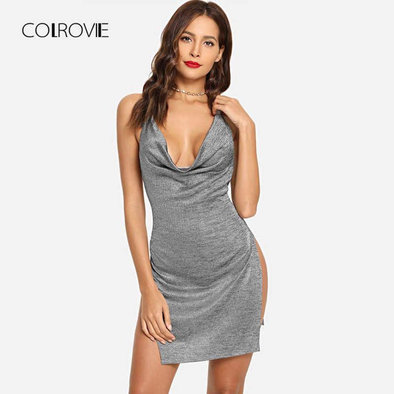 ... COLROVIE Grey Backless Metallic Plunge Cowl Slit V Neck Sexy Bodycon  Dress 2018 Autumn Solid Split 9bbdb9bd2