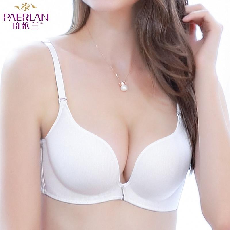 PAERLAN Sans Soudure aucun anneau en acier verticale coton blanc soutien-gorge poitrine recueillir de façon transparente réglable respirant sous-vêtements féminins