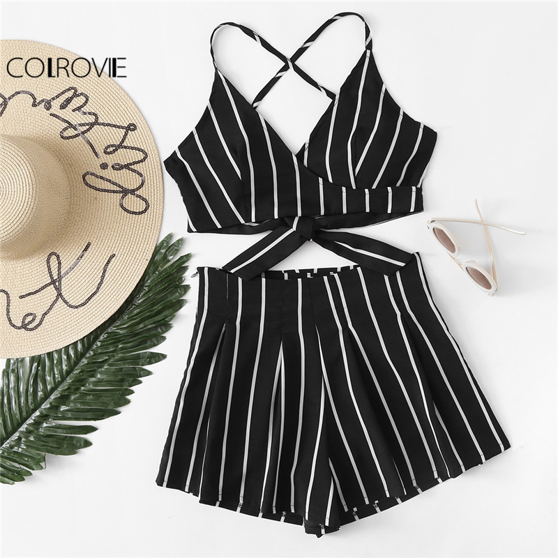 COLROVIE 2018 Deep V Neck Spaghetti Strap Twopiece Set Women Casual Stripe Surplice Bow Tie Open Back Crop Cami Top With Shorts
