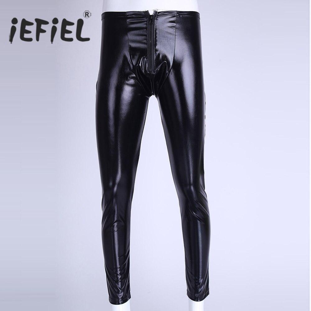 iEFIEL Black Mens Patent Leather Zipper Bulge Pouch Tight Shinny Pants Leggings Trousers Underwear Clubwear Leotard Costumes