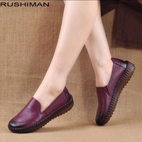 RUSHIMAN Women Shoes Genuine Leather Ballet Flats soft TPR sole Breathable Flats elegant loafers shoes women 2018
