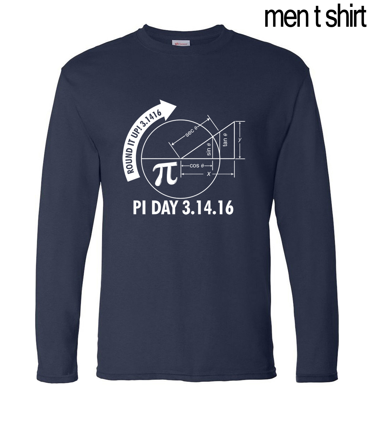 Pi Day 3.1416 Round Math Graph 2017 new autumn 100% cotton fashion casual men long sleeve T-shirts fashion adult top tees S-2XL