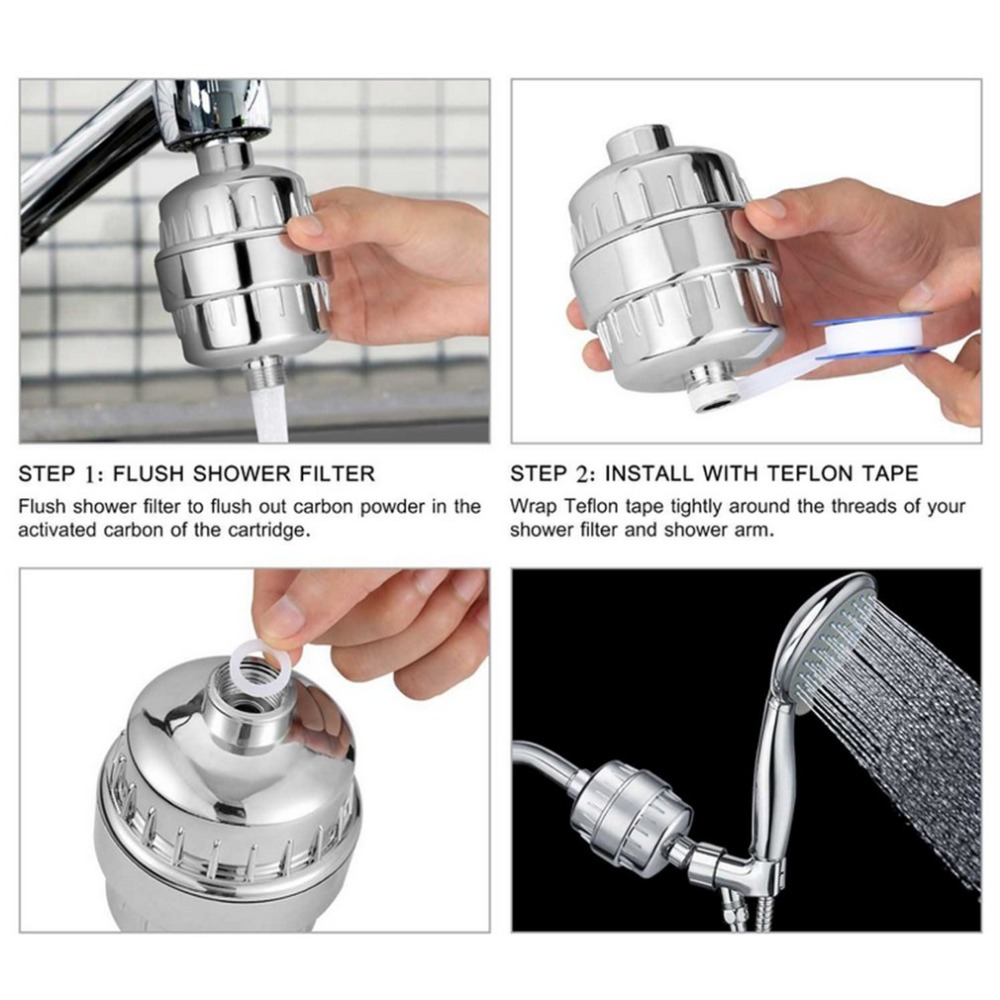 Practical Home Bathroom Use Water Filter Purifier Easy To Install Stainless Steel Softener Chlorine Removal Shower Filter