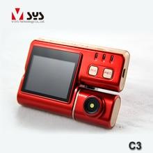 Free shipping  Super thin Mini size Dual Lens sport camera car dvr waterproof lens motorcycle dvr