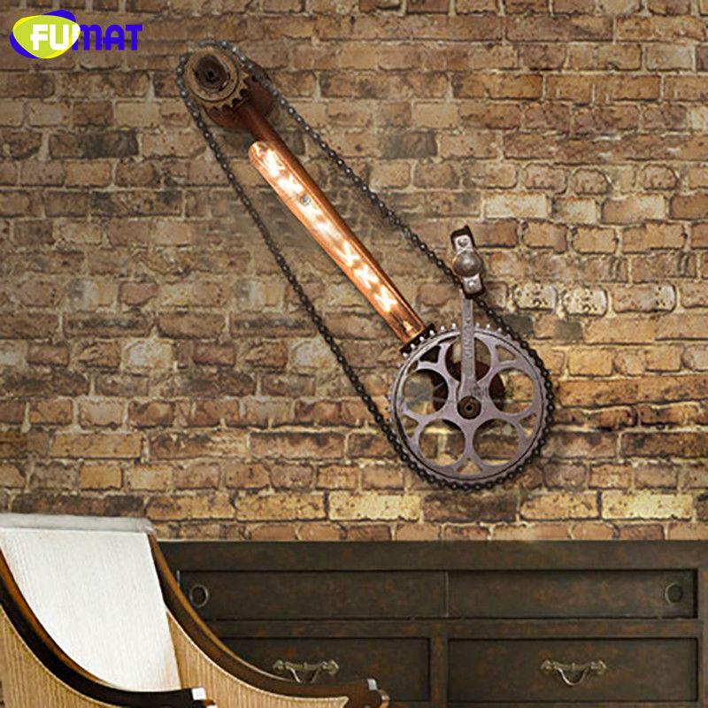 FUMAT Fahrrad Rad Wand Lampen Loft Industriellen Eisen Ketten Licht Bar Cafe Vintage Getriebe Wandleuchte